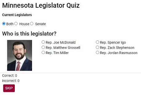 Screenshot of Minnesota Legislator quiz showing Rep. Igo and 6 choices to match image with name.